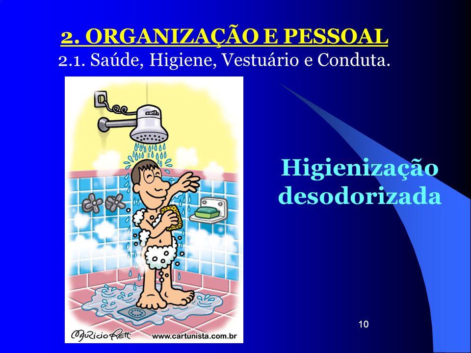 10 2. ORGANIZAÇÃO E PESSOAL 2.1. Saúde, Higiene, Vestuário e Conduta. Higienização desodorizada