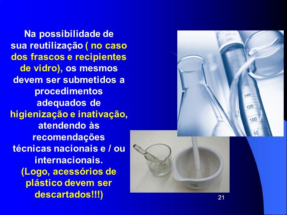 21 Na possibilidade de sua reutilização ( no caso dos frascos e recipientes de vidro), os mesmos devem ser submetidos a procedimentos adequados de hig