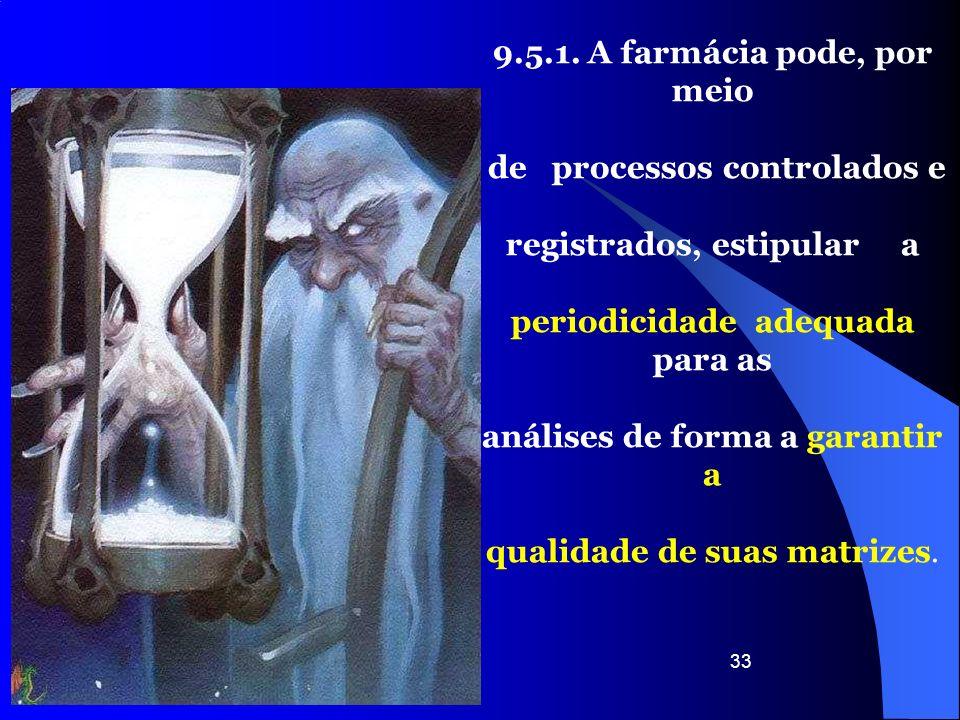 33 9.5.1. A farmácia pode, por meio de processos controlados e registrados, estipular a periodicidade adequada para as análises de forma a garantir a