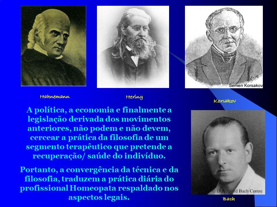 34 Hahnemann Hering Korsakov Bach A política, a economia e finalmente a legislação derivada dos movimentos anteriores, não podem e não devem, cercear