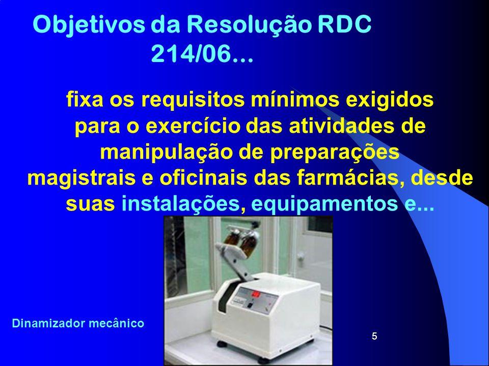 5 Objetivos da Resolução RDC 214/06... fixa os requisitos mínimos exigidos para o exercício das atividades de manipulação de preparações magistrais e