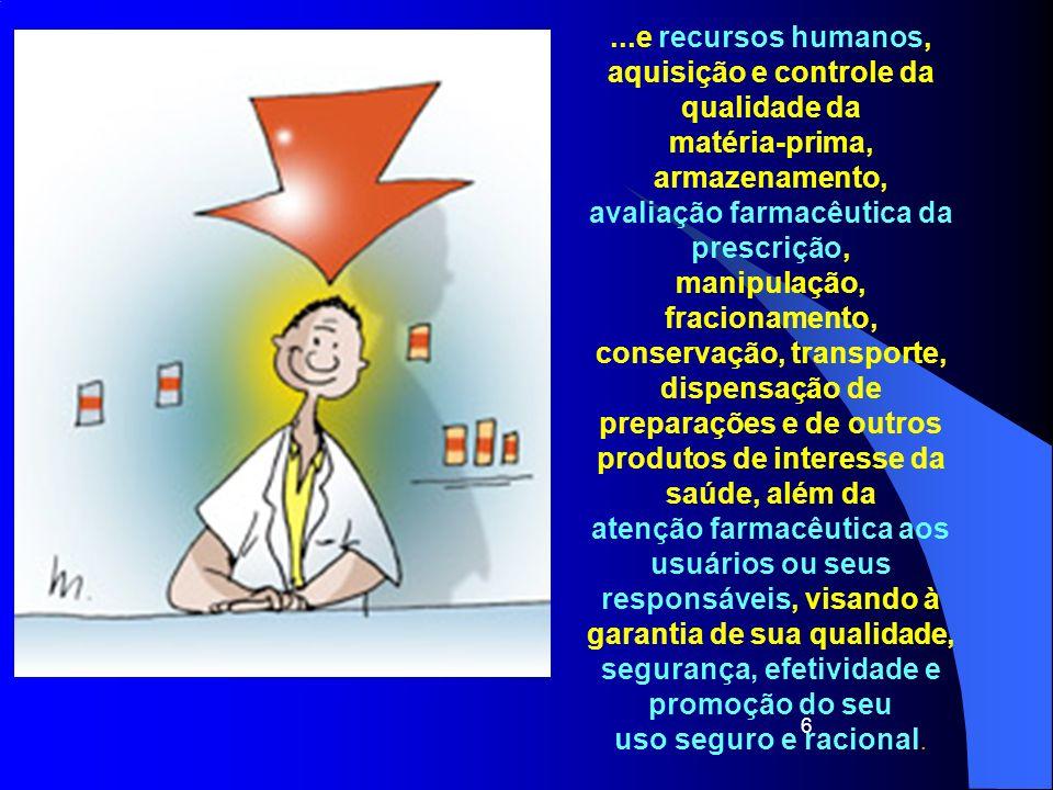 6...e recursos humanos, aquisição e controle da qualidade da matéria-prima, armazenamento, avaliação farmacêutica da prescrição, manipulação, fraciona