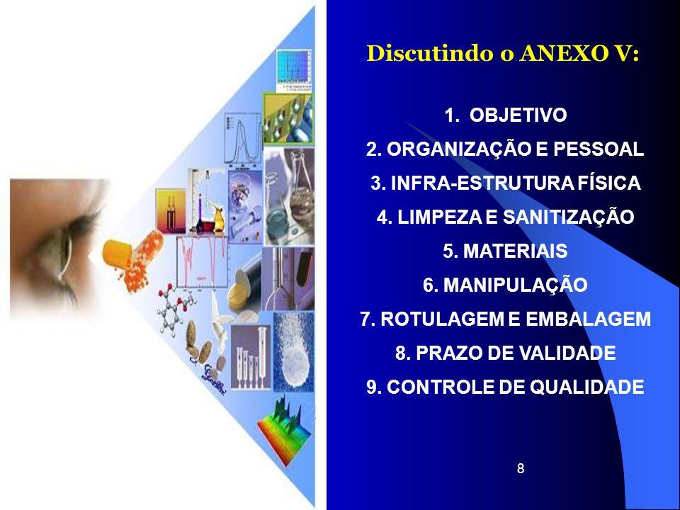 8 Discutindo o ANEXO V: 1.OBJETIVO 2. ORGANIZAÇÃO E PESSOAL 3. INFRA-ESTRUTURA FÍSICA 4. LIMPEZA E SANITIZAÇÃO 5. MATERIAIS 6. MANIPULAÇÃO 7. ROTULAGE