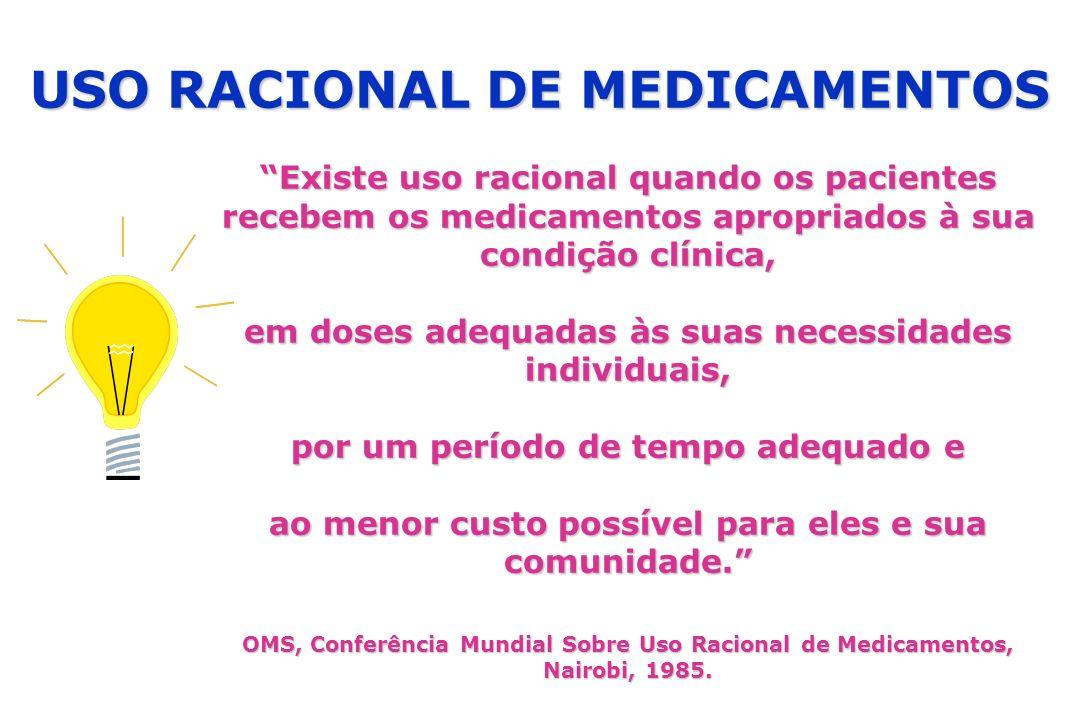 Existe uso racional quando os pacientes recebem os medicamentos apropriados à sua condição clínica, em doses adequadas às suas necessidades individuai
