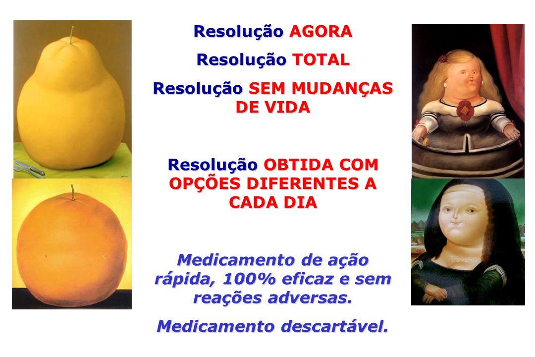 Resolução AGORA Resolução TOTAL Resolução SEM MUDANÇAS DE VIDA Resolução OBTIDA COM OPÇÕES DIFERENTES A CADA DIA Medicamento de ação rápida, 100% efic