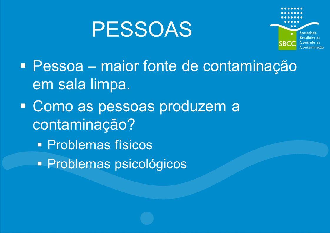 PESSOAS Pessoa – maior fonte de contaminação em sala limpa.
