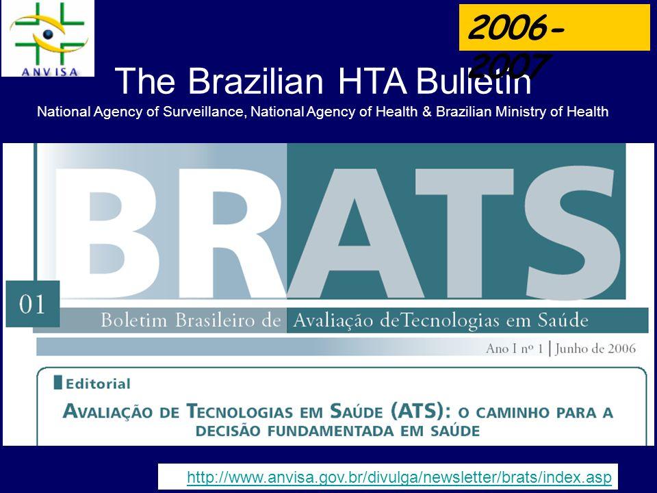 The Brazilian HTA Bulletin National Agency of Surveillance, National Agency of Health & Brazilian Ministry of Health http://www.anvisa.gov.br/divulga/