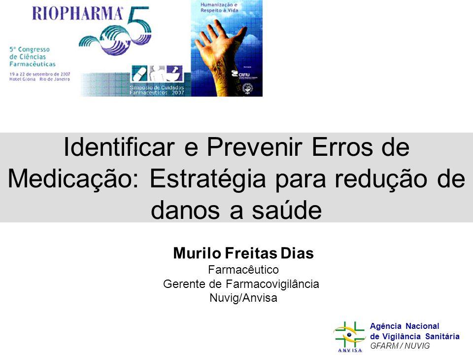 Murilo Freitas Dias Agência Nacional de Vigilância Sanitária GFARM / NUVIG Identificar e Prevenir Erros de Medicação: Estratégia para redução de danos