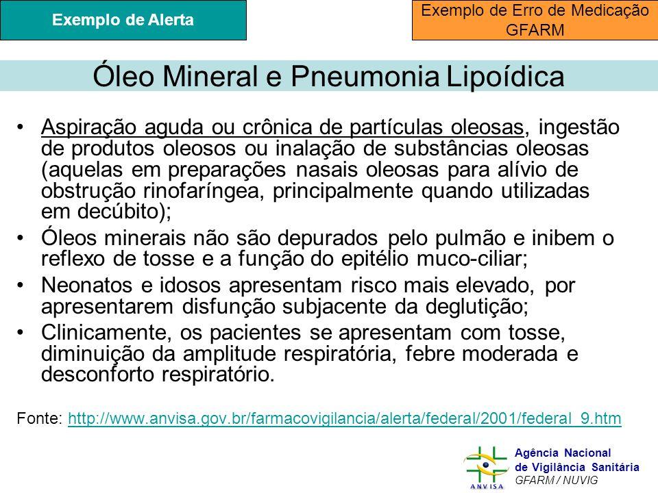Murilo Freitas Dias Agência Nacional de Vigilância Sanitária GFARM / NUVIG Óleo Mineral e Pneumonia Lipoídica Aspiração aguda ou crônica de partículas