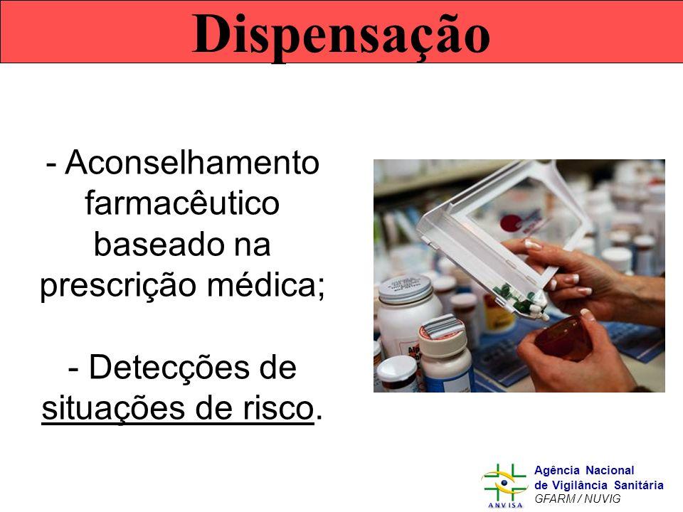 Murilo Freitas Dias Agência Nacional de Vigilância Sanitária GFARM / NUVIG Dispensação - Aconselhamento farmacêutico baseado na prescrição médica; - D