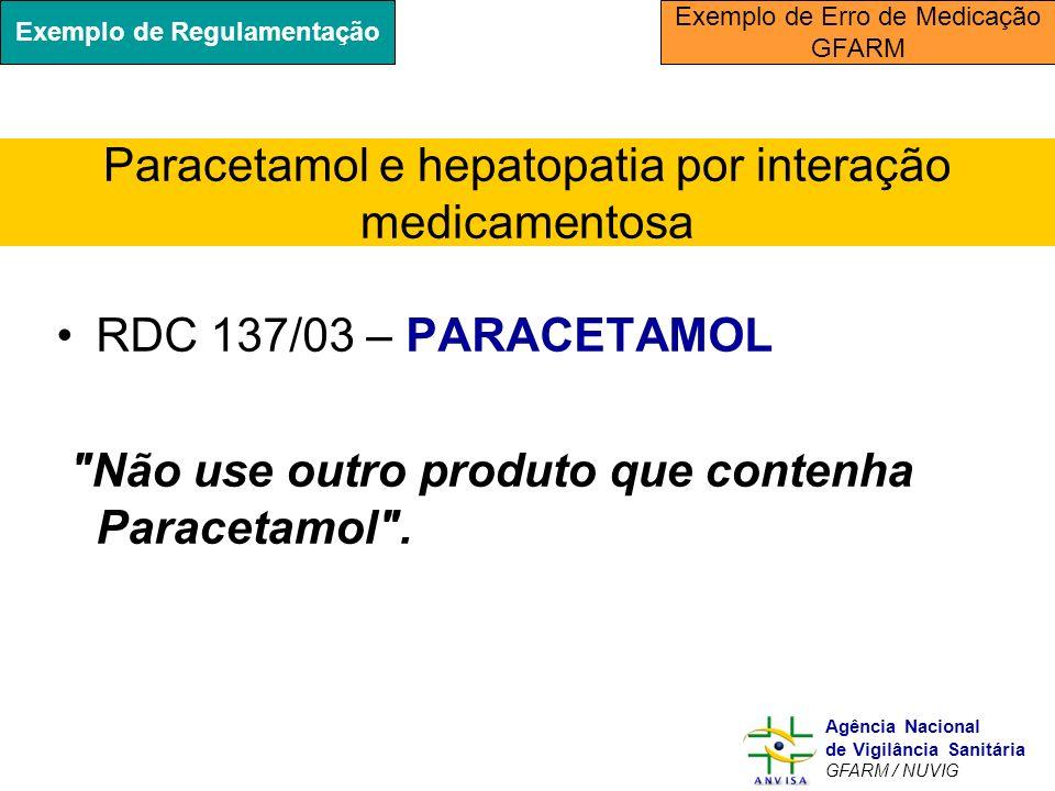 Murilo Freitas Dias Agência Nacional de Vigilância Sanitária GFARM / NUVIG RDC 137/03 – PARACETAMOL