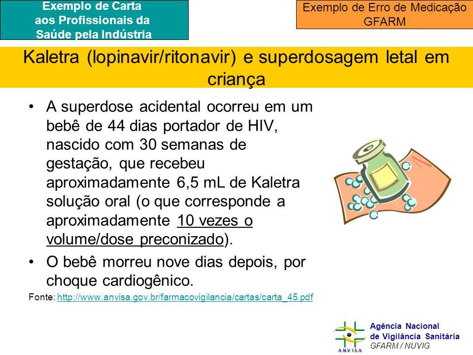 Murilo Freitas Dias Agência Nacional de Vigilância Sanitária GFARM / NUVIG Kaletra (lopinavir/ritonavir) e superdosagem letal em criança A superdose a