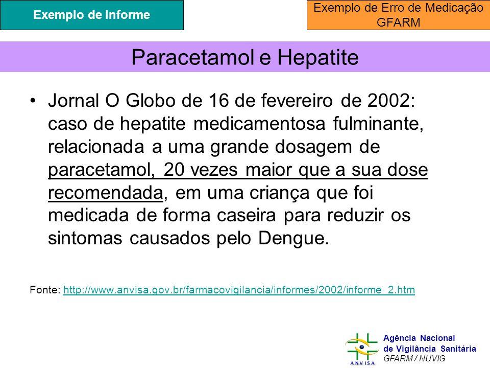 Murilo Freitas Dias Agência Nacional de Vigilância Sanitária GFARM / NUVIG Paracetamol e Hepatite Jornal O Globo de 16 de fevereiro de 2002: caso de h