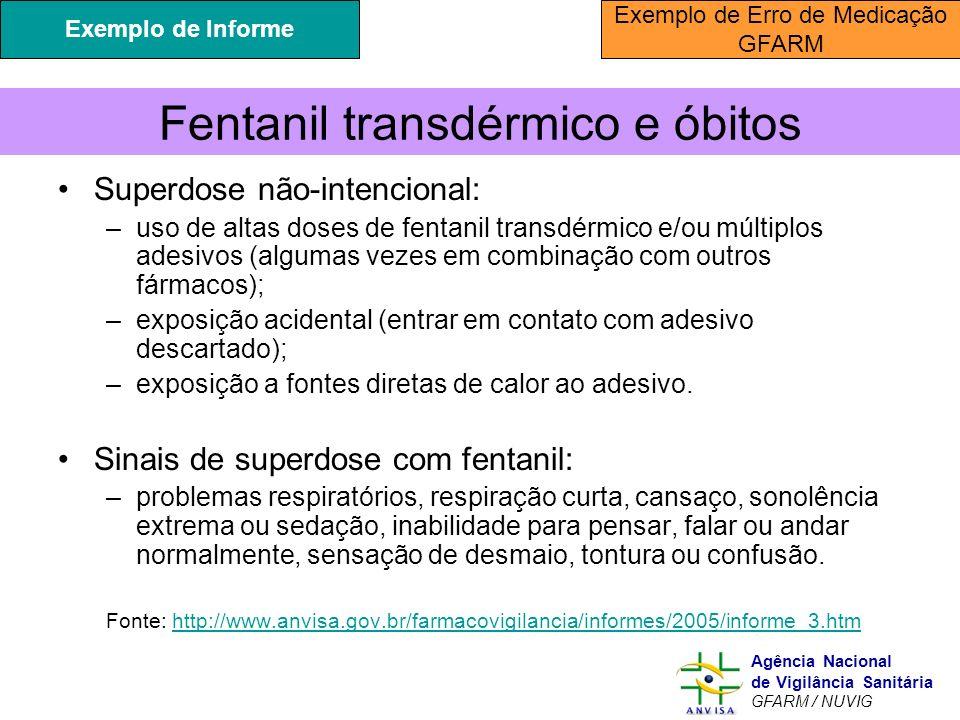 Murilo Freitas Dias Agência Nacional de Vigilância Sanitária GFARM / NUVIG Fentanil transdérmico e óbitos Superdose não-intencional: –uso de altas dos
