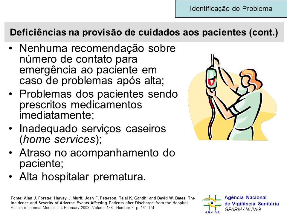 Murilo Freitas Dias Agência Nacional de Vigilância Sanitária GFARM / NUVIG Deficiências na provisão de cuidados aos pacientes (cont.) Nenhuma recomend