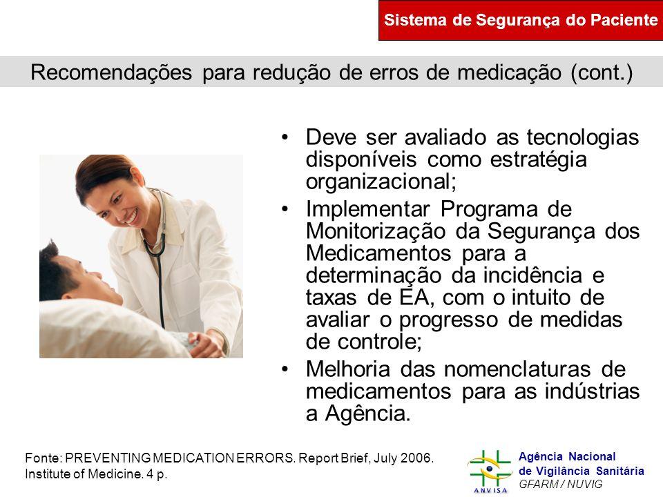 Murilo Freitas Dias Agência Nacional de Vigilância Sanitária GFARM / NUVIG Recomendações para redução de erros de medicação (cont.) Deve ser avaliado