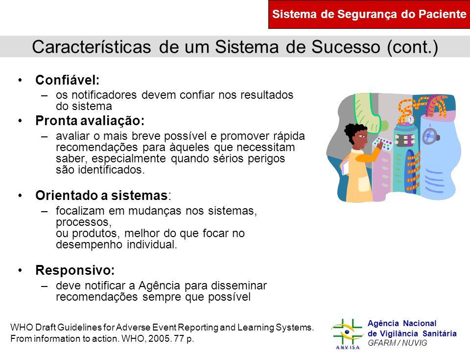 Murilo Freitas Dias Agência Nacional de Vigilância Sanitária GFARM / NUVIG Características de um Sistema de Sucesso (cont.) Confiável: –os notificador