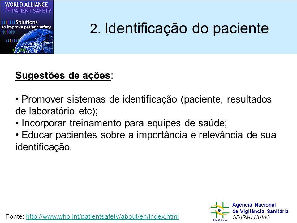 Murilo Freitas Dias Agência Nacional de Vigilância Sanitária GFARM / NUVIG 2. Identificação do paciente Sugestões de ações: Promover sistemas de ident