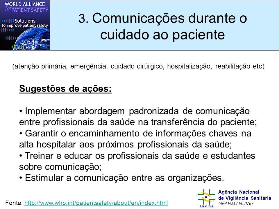 Murilo Freitas Dias Agência Nacional de Vigilância Sanitária GFARM / NUVIG 3. Comunicações durante o cuidado ao paciente Sugestões de ações: Implement