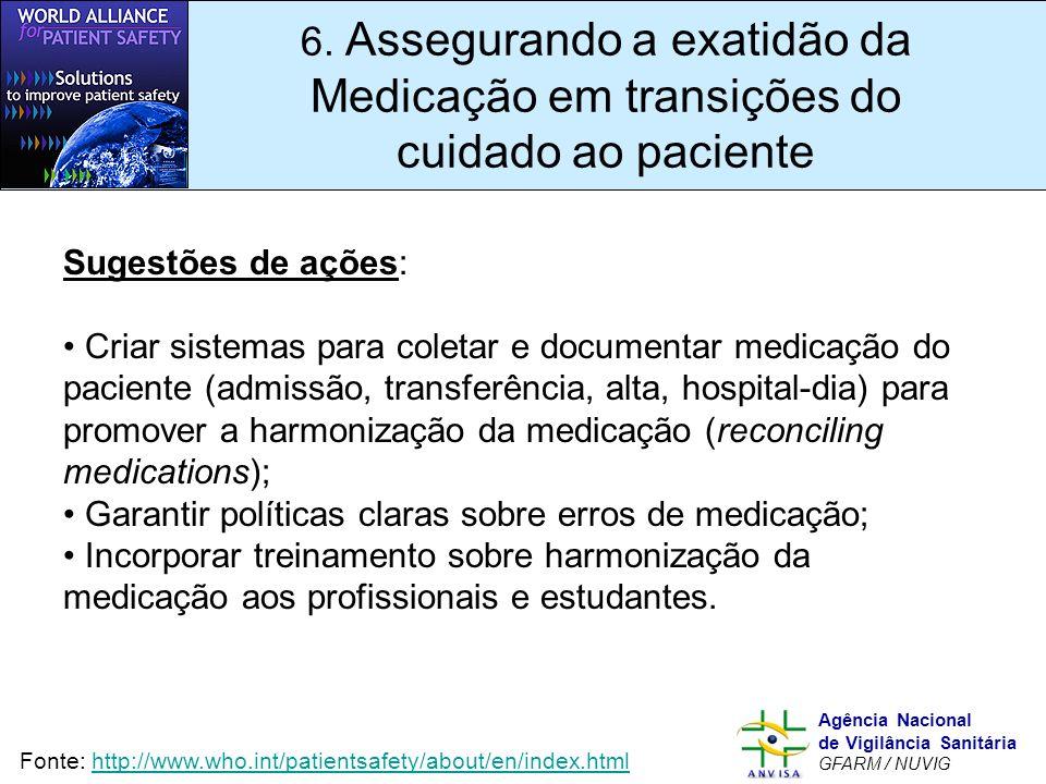 Murilo Freitas Dias Agência Nacional de Vigilância Sanitária GFARM / NUVIG 6. Assegurando a exatidão da Medicação em transições do cuidado ao paciente