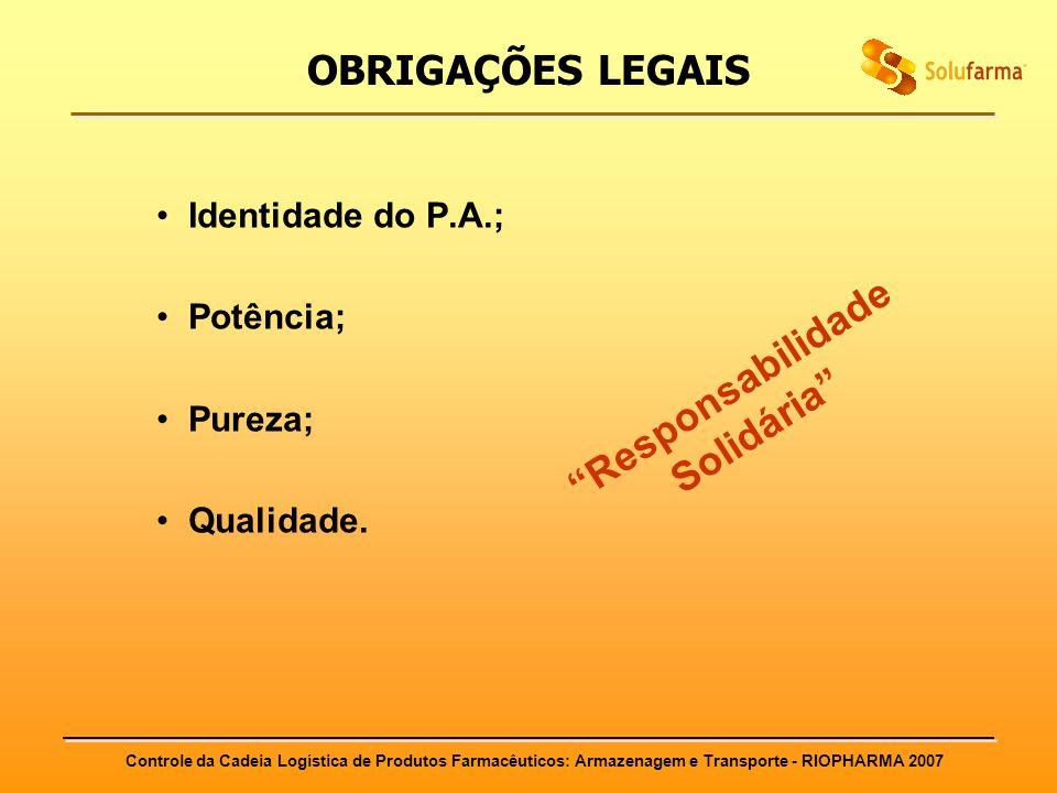Controle da Cadeia Logística de Produtos Farmacêuticos: Armazenagem e Transporte - RIOPHARMA 2007 OBRIGAÇÕES LEGAIS Identidade do P.A.; Potência; Pure