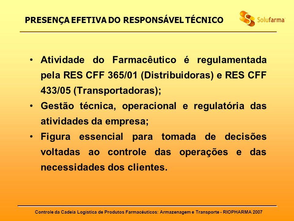 Controle da Cadeia Logística de Produtos Farmacêuticos: Armazenagem e Transporte - RIOPHARMA 2007 PRESENÇA EFETIVA DO RESPONSÁVEL TÉCNICO Atividade do
