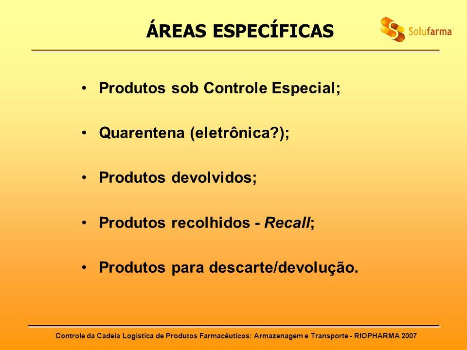 Controle da Cadeia Logística de Produtos Farmacêuticos: Armazenagem e Transporte - RIOPHARMA 2007 ÁREAS ESPECÍFICAS Produtos sob Controle Especial; Qu