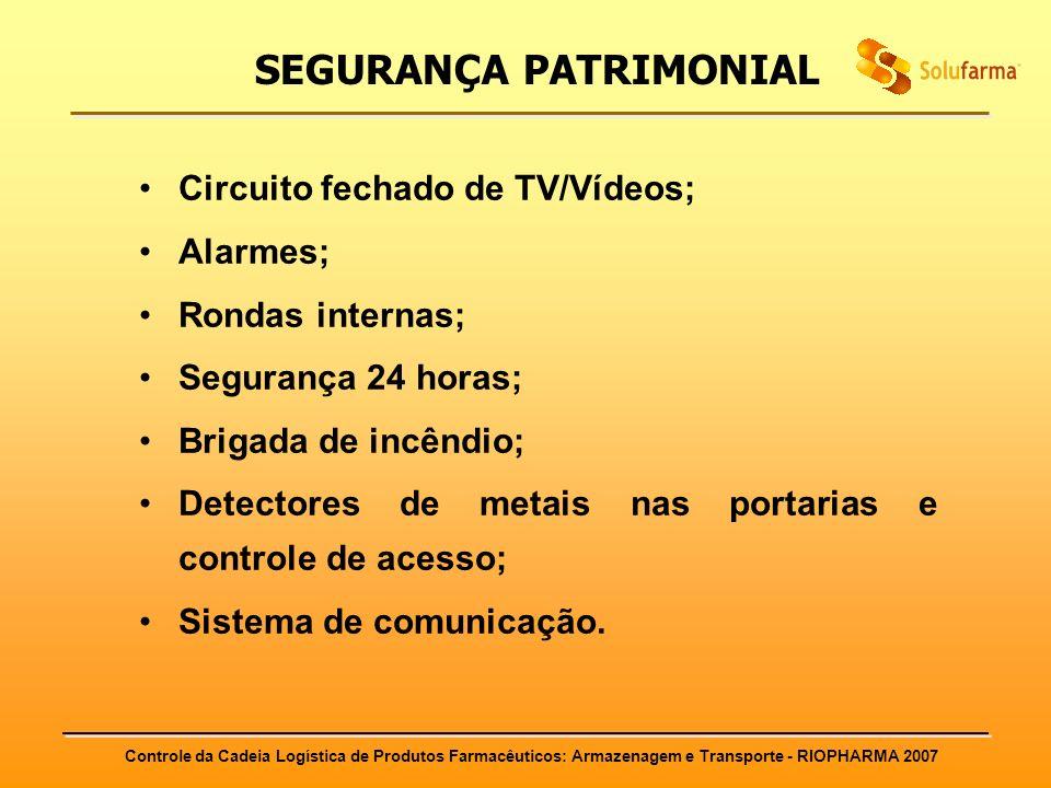 Controle da Cadeia Logística de Produtos Farmacêuticos: Armazenagem e Transporte - RIOPHARMA 2007 SEGURANÇA PATRIMONIAL Circuito fechado de TV/Vídeos;