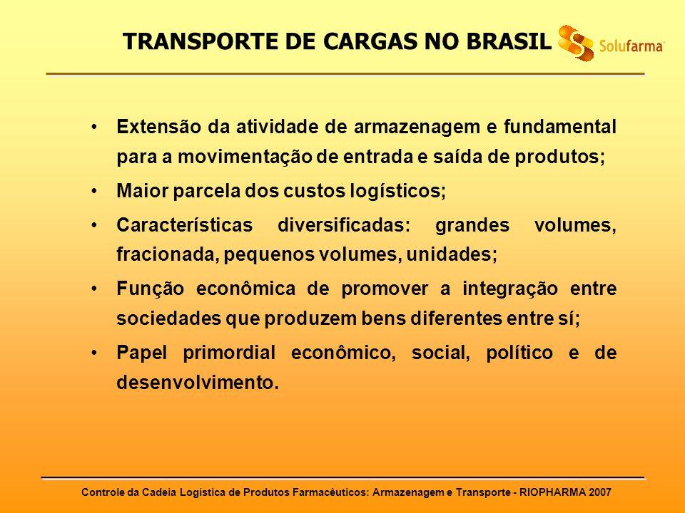 Controle da Cadeia Logística de Produtos Farmacêuticos: Armazenagem e Transporte - RIOPHARMA 2007 Extensão da atividade de armazenagem e fundamental p