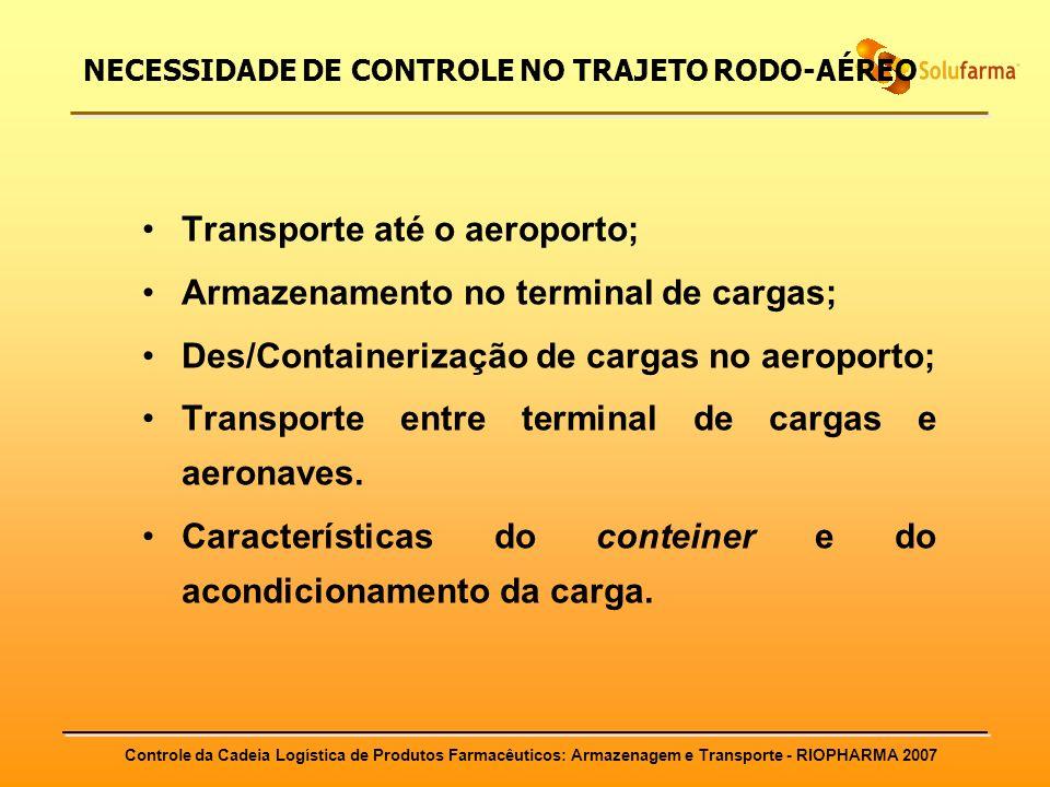 Controle da Cadeia Logística de Produtos Farmacêuticos: Armazenagem e Transporte - RIOPHARMA 2007 NECESSIDADE DE CONTROLE NO TRAJETO RODO-AÉREO Transp
