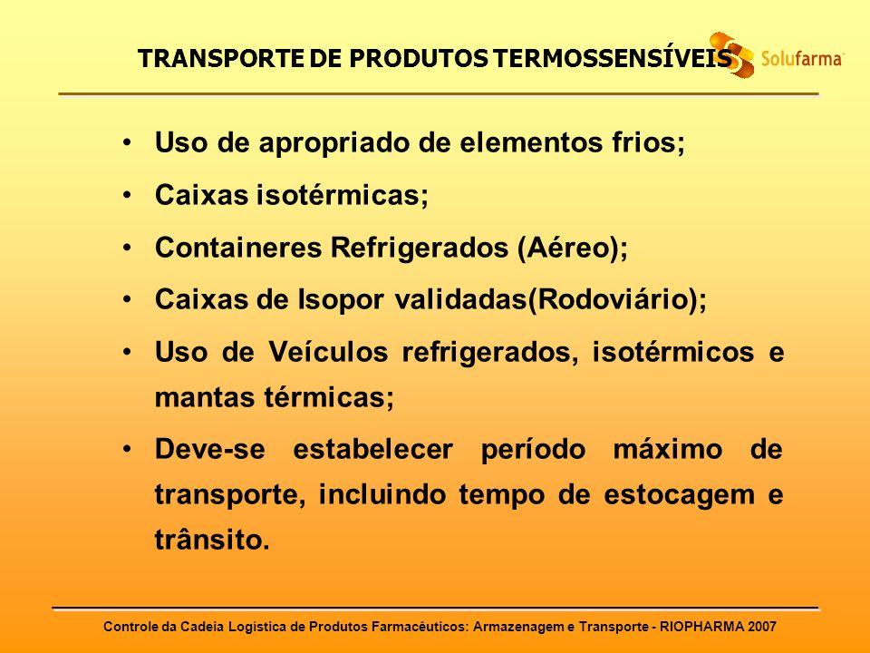 Controle da Cadeia Logística de Produtos Farmacêuticos: Armazenagem e Transporte - RIOPHARMA 2007 TRANSPORTE DE PRODUTOS TERMOSSENSÍVEIS Uso de apropr