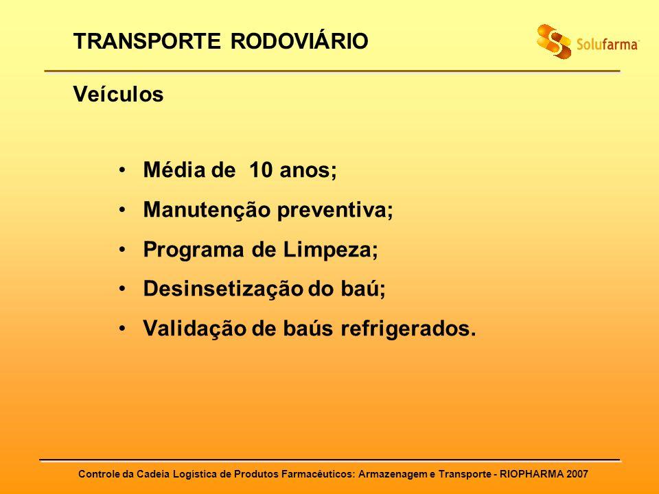 Controle da Cadeia Logística de Produtos Farmacêuticos: Armazenagem e Transporte - RIOPHARMA 2007 TRANSPORTE RODOVIÁRIO Veículos Média de 10 anos; Man