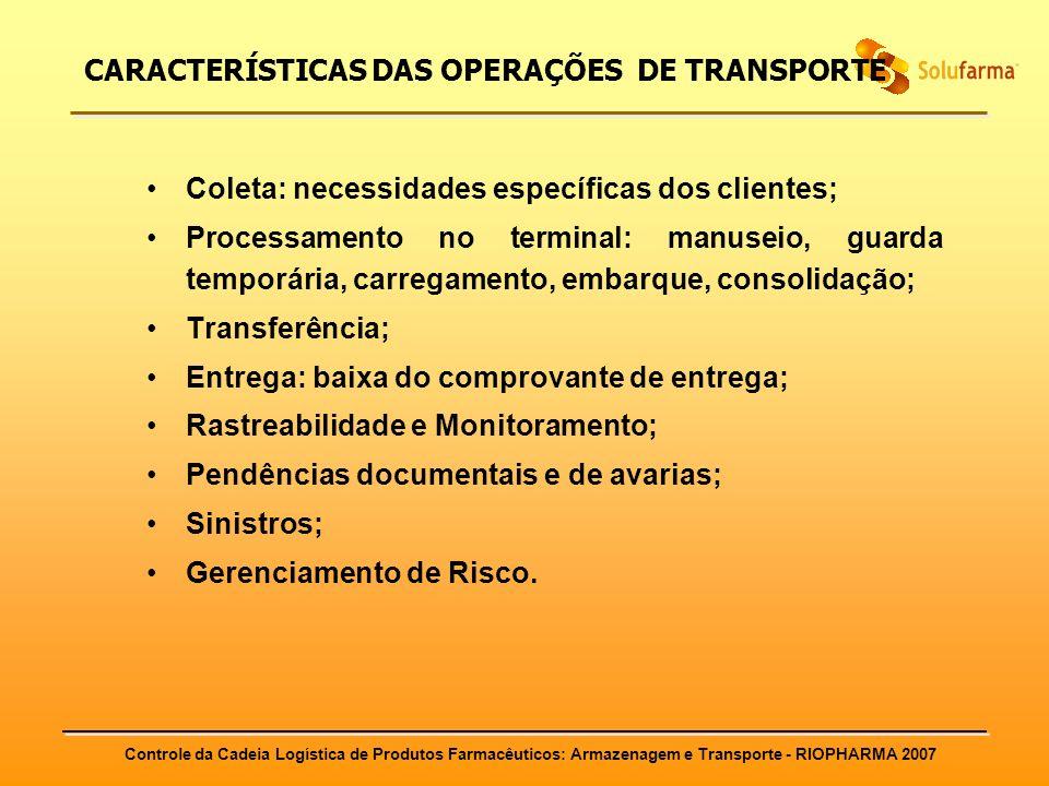 Controle da Cadeia Logística de Produtos Farmacêuticos: Armazenagem e Transporte - RIOPHARMA 2007 CARACTERÍSTICAS DAS OPERAÇÕES DE TRANSPORTE Coleta: