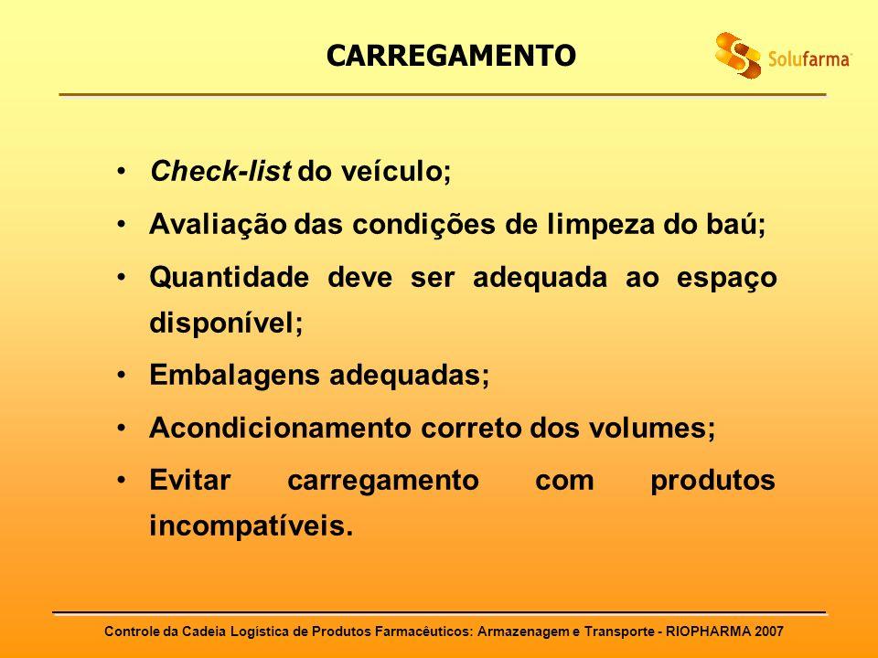 Controle da Cadeia Logística de Produtos Farmacêuticos: Armazenagem e Transporte - RIOPHARMA 2007 CARREGAMENTO Check-list do veículo; Avaliação das co