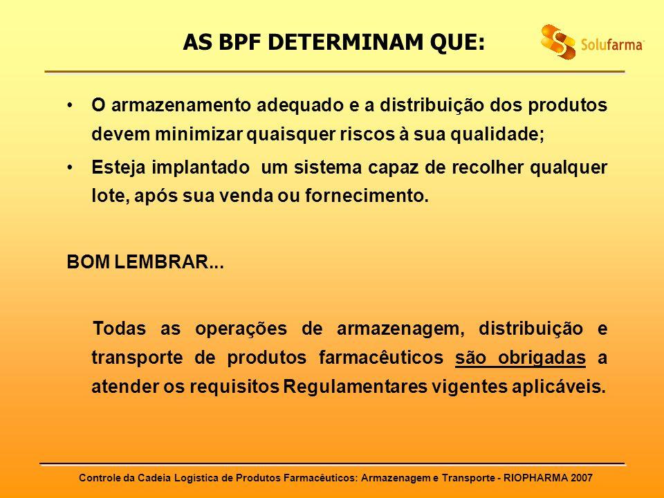 Controle da Cadeia Logística de Produtos Farmacêuticos: Armazenagem e Transporte - RIOPHARMA 2007 AS BPF DETERMINAM QUE: O armazenamento adequado e a