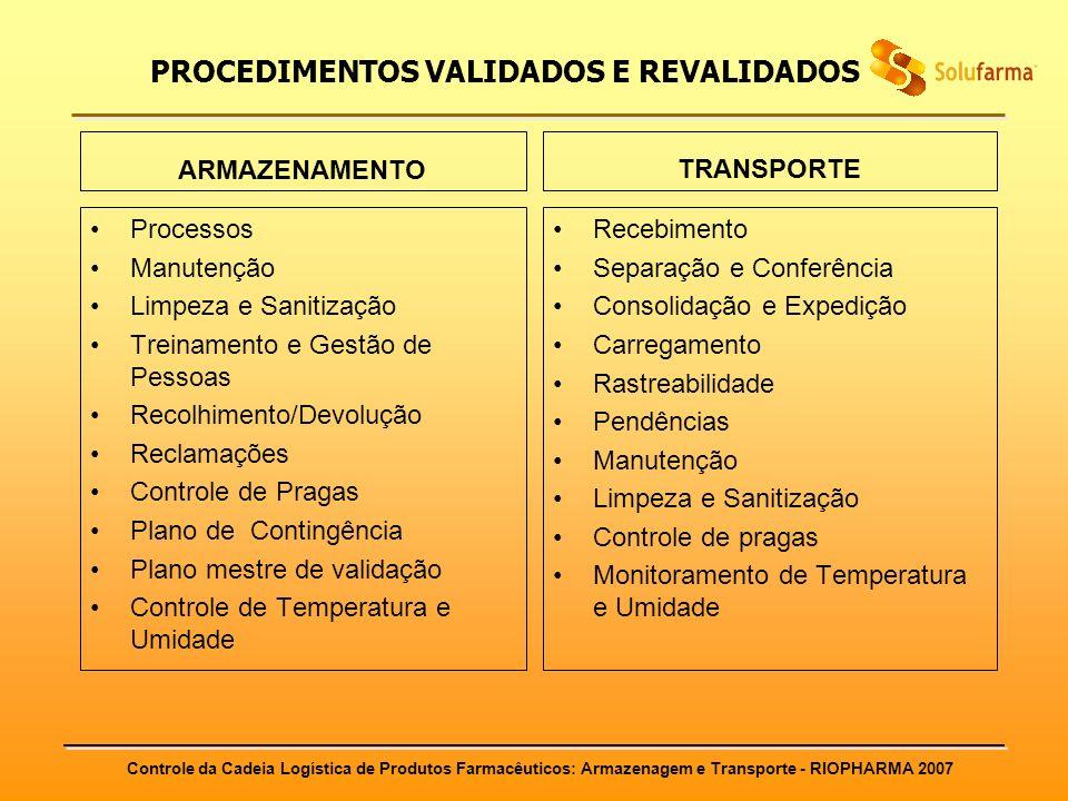 Controle da Cadeia Logística de Produtos Farmacêuticos: Armazenagem e Transporte - RIOPHARMA 2007 PROCEDIMENTOS VALIDADOS E REVALIDADOS ARMAZENAMENTO