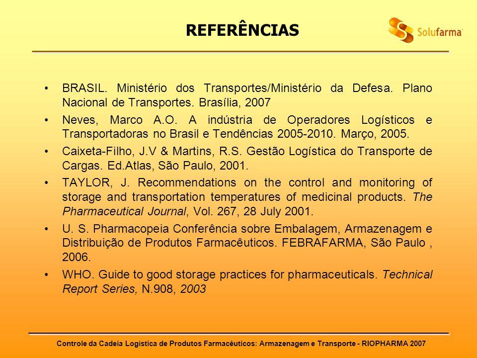 Controle da Cadeia Logística de Produtos Farmacêuticos: Armazenagem e Transporte - RIOPHARMA 2007 REFERÊNCIAS BRASIL. Ministério dos Transportes/Minis