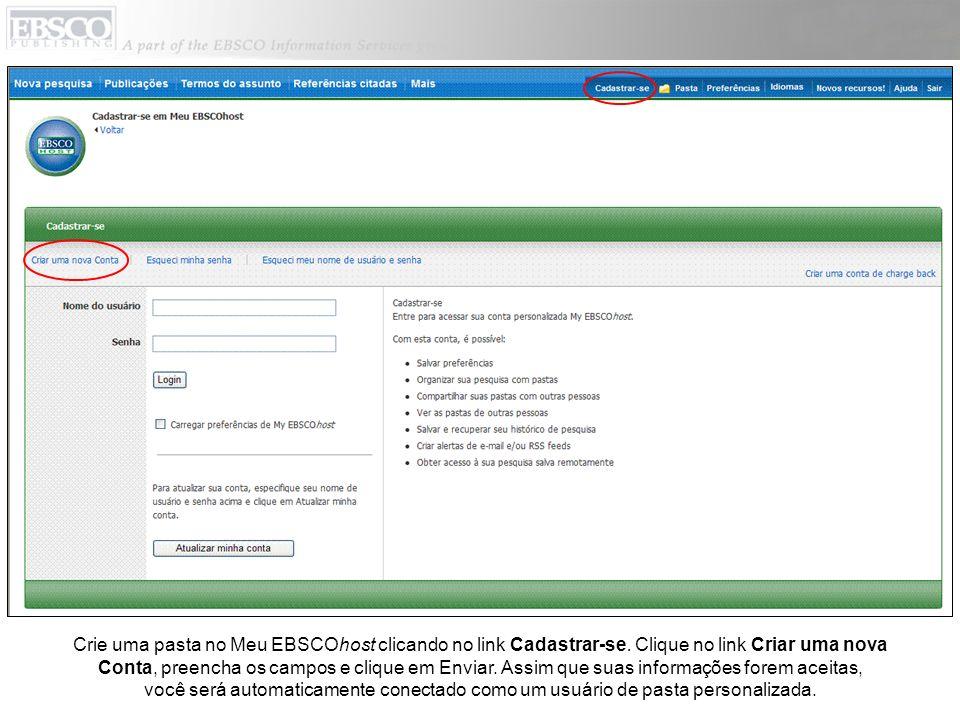 Crie uma pasta no Meu EBSCOhost clicando no link Cadastrar-se.