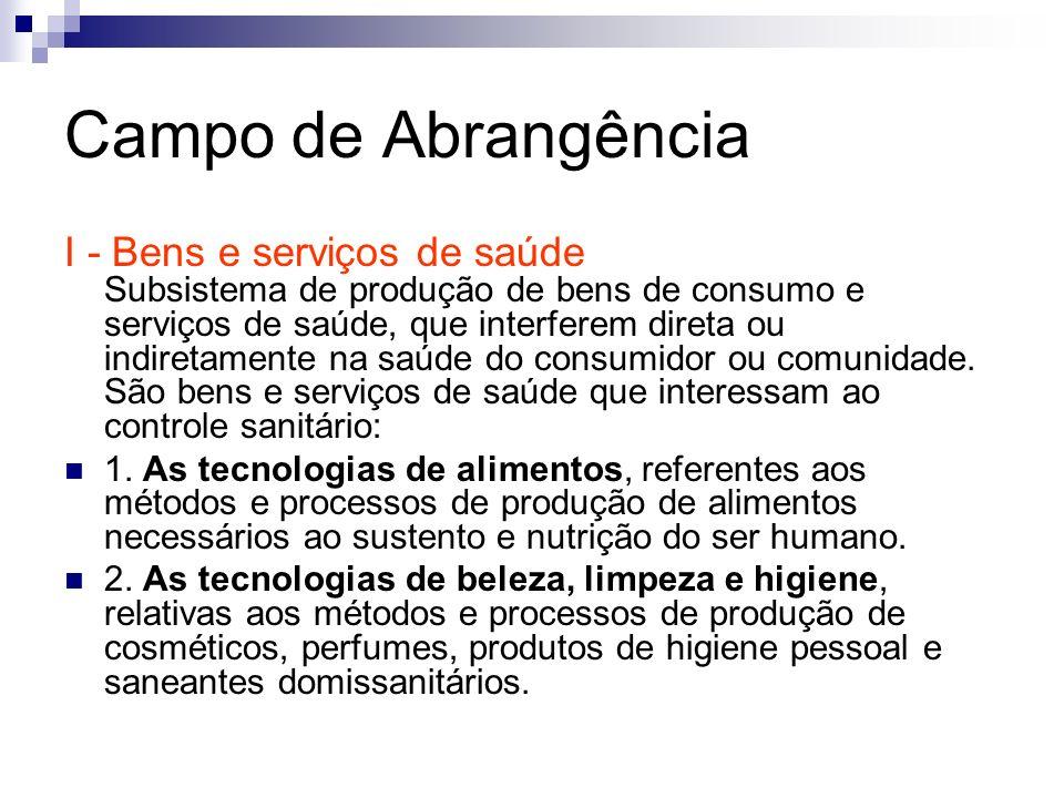 Campo de Abrangência I - Bens e serviços de saúde Subsistema de produção de bens de consumo e serviços de saúde, que interferem direta ou indiretament