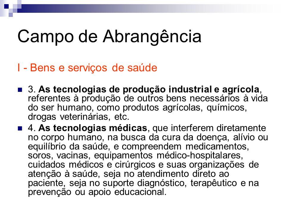 Campo de Abrangência I - Bens e serviços de saúde 3. As tecnologias de produção industrial e agrícola, referentes à produção de outros bens necessário