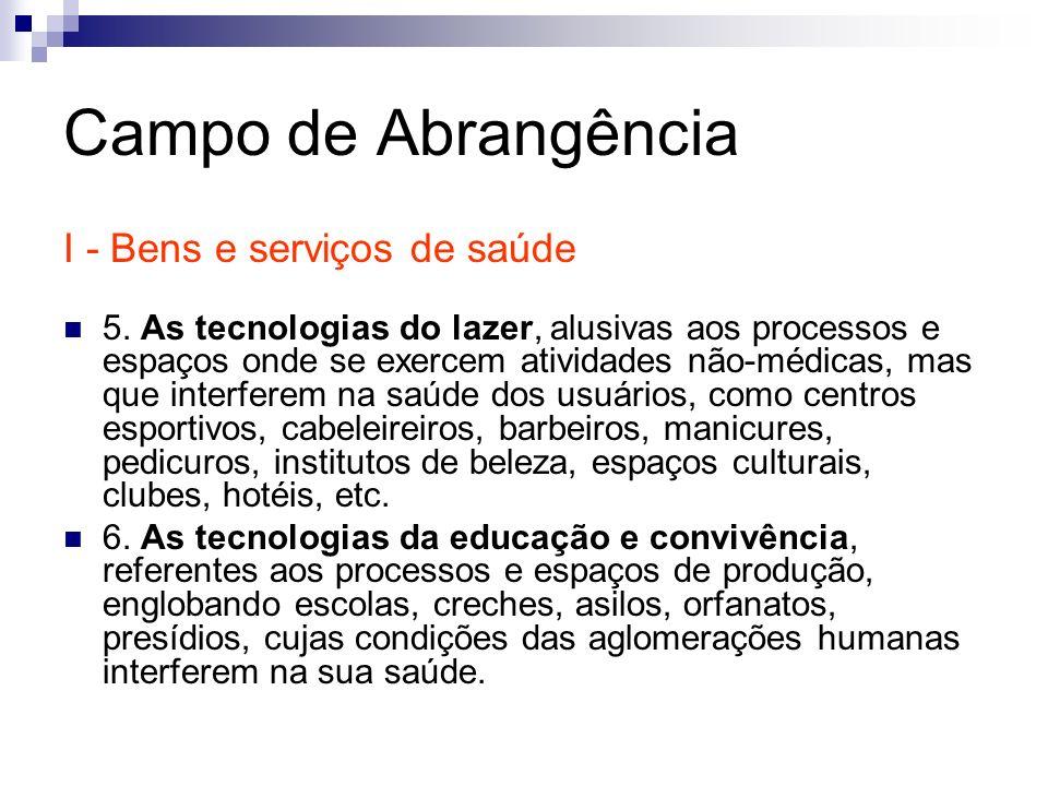 Campo de Abrangência I - Bens e serviços de saúde 5. As tecnologias do lazer, alusivas aos processos e espaços onde se exercem atividades não-médicas,