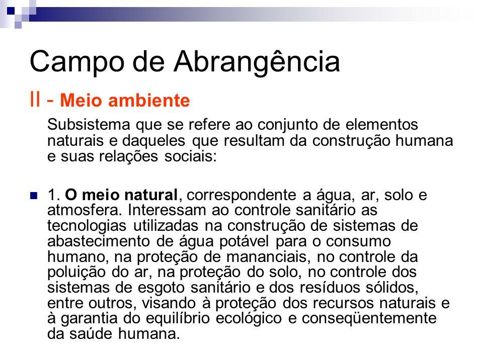 Campo de Abrangência II - Meio ambiente Subsistema que se refere ao conjunto de elementos naturais e daqueles que resultam da construção humana e suas
