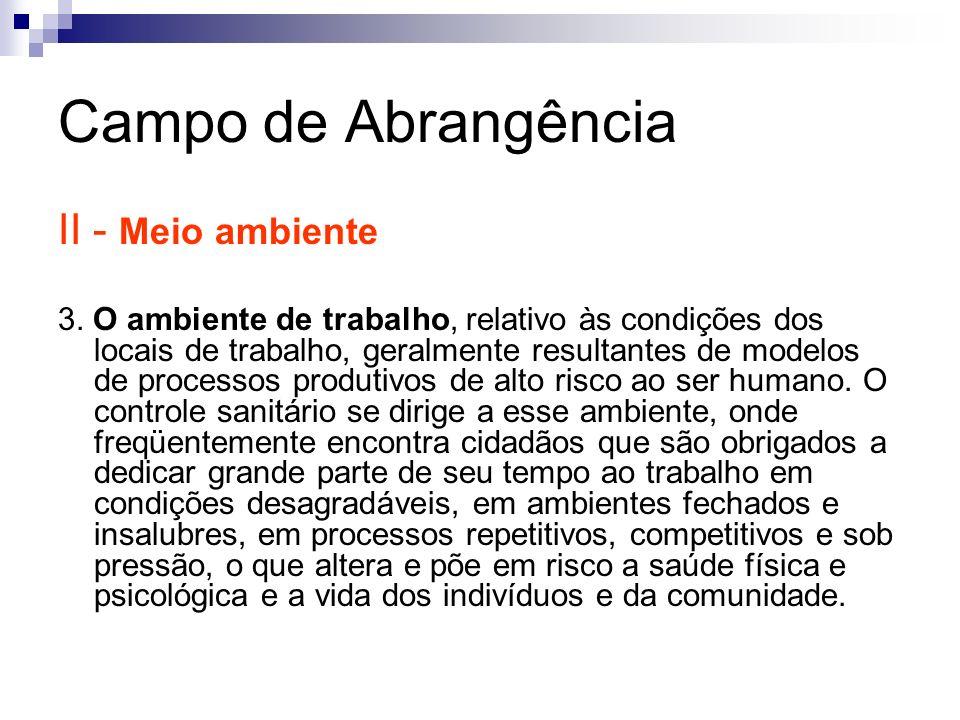 Campo de Abrangência II - Meio ambiente 3. O ambiente de trabalho, relativo às condições dos locais de trabalho, geralmente resultantes de modelos de