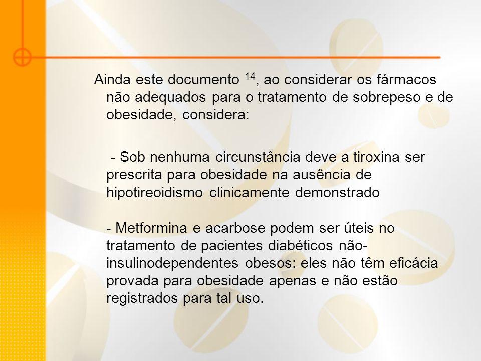 Ainda este documento 14, ao considerar os fármacos não adequados para o tratamento de sobrepeso e de obesidade, considera: - Sob nenhuma circunstância