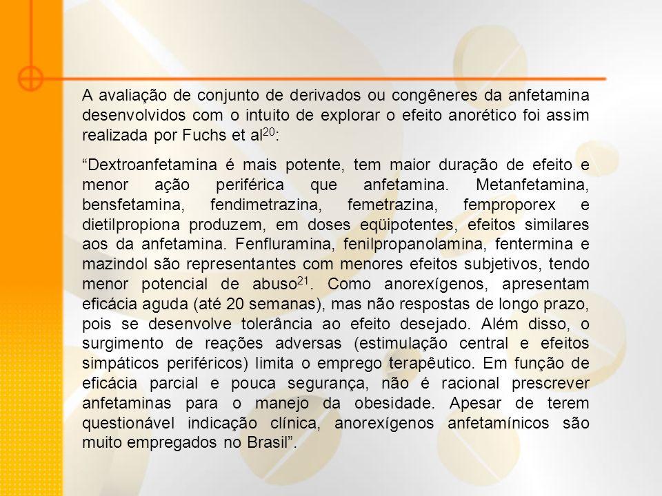 A avaliação de conjunto de derivados ou congêneres da anfetamina desenvolvidos com o intuito de explorar o efeito anorético foi assim realizada por Fu