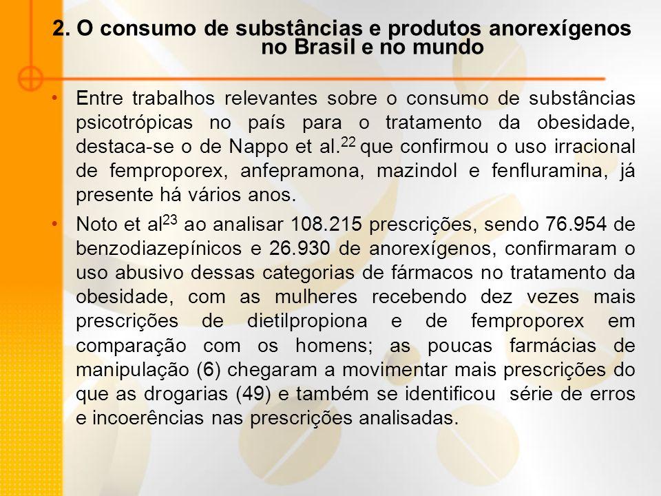 2. O consumo de substâncias e produtos anorexígenos no Brasil e no mundo Entre trabalhos relevantes sobre o consumo de substâncias psicotrópicas no pa