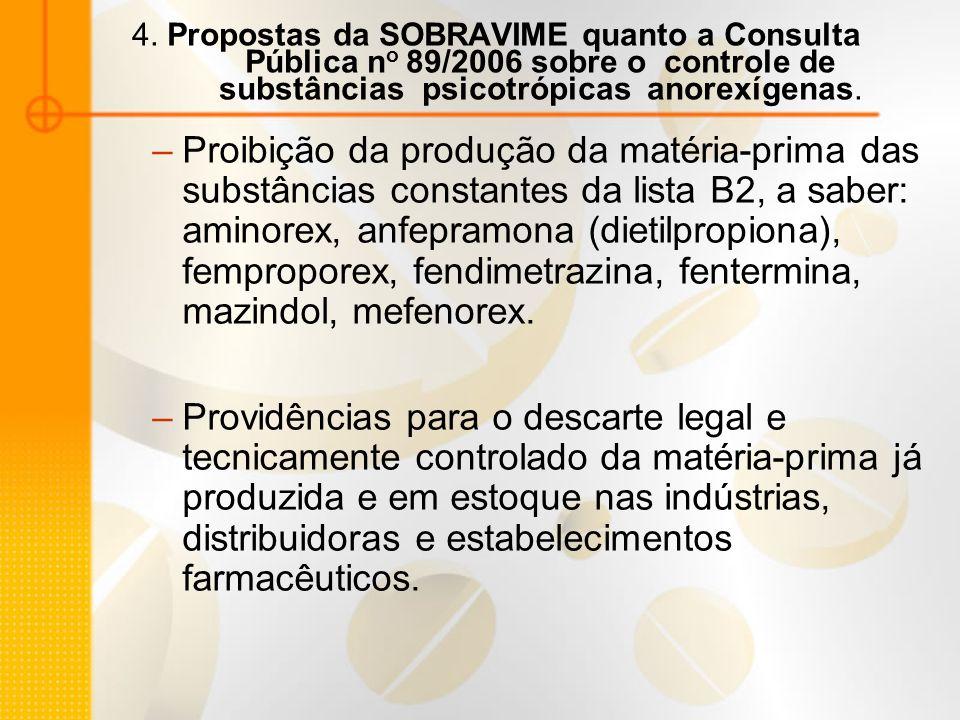 4. Propostas da SOBRAVIME quanto a Consulta Pública n o 89/2006 sobre o controle de substâncias psicotrópicas anorexígenas. –Proibição da produção da