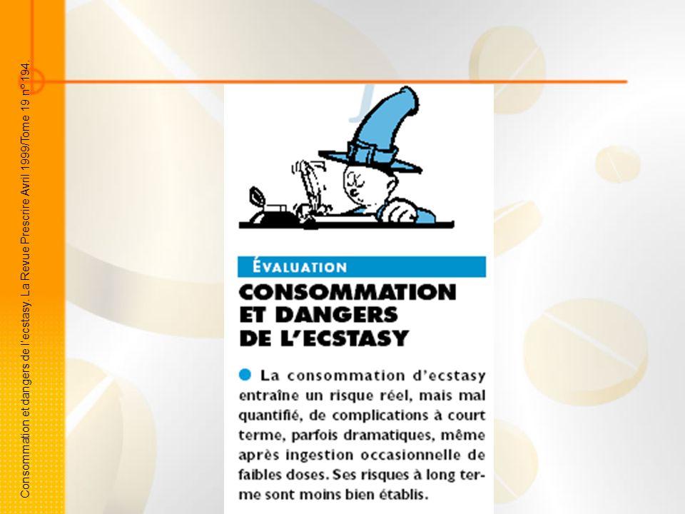 Consommation et dangers de lecstasy. La Revue Prescrire Avril 1999/Tome 19 nº 194.