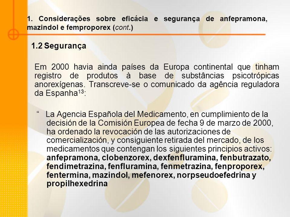 1.2 Segurança Em 2000 havia ainda países da Europa continental que tinham registro de produtos à base de substâncias psicotrópicas anorexígenas. Trans