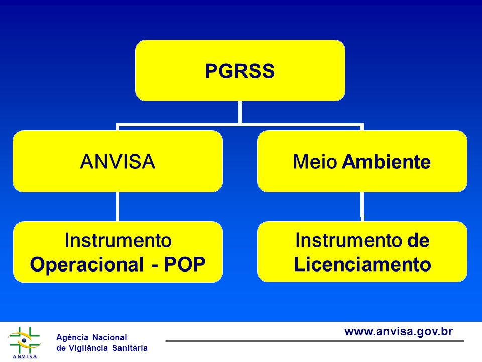 Agência Nacional de Vigilância Sanitária www.anvisa.gov.br PGRSS ANVISA Instrumento Operacional - POP Meio Ambiente Instrumento de Licenciamento